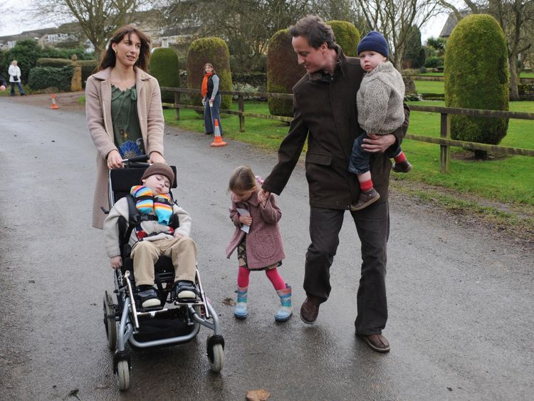 David Cameron with his wife Samantha and children Ivan, Nancy and Arthur Elwen