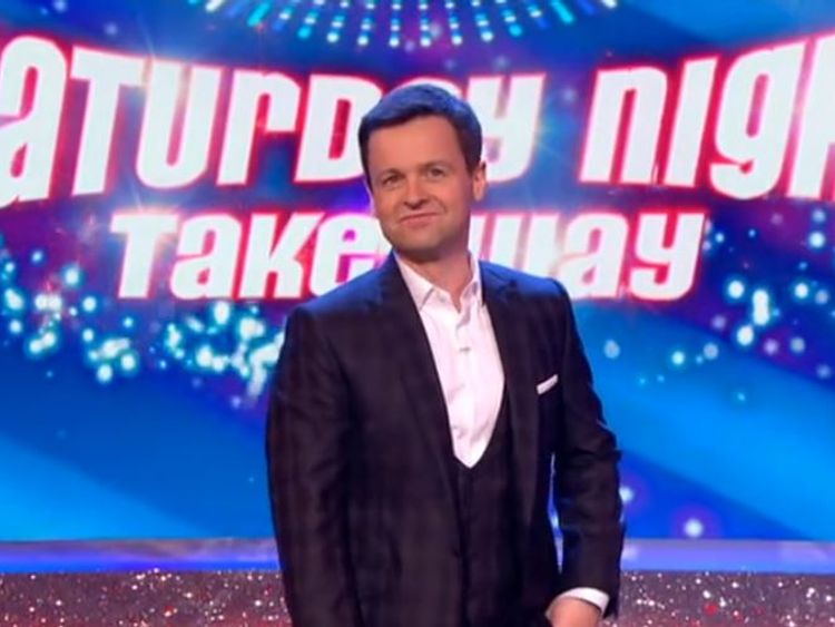 Declan Donnelly presented the show solo on Saturday night. Credit: ITV/Saturday Night Takeaway