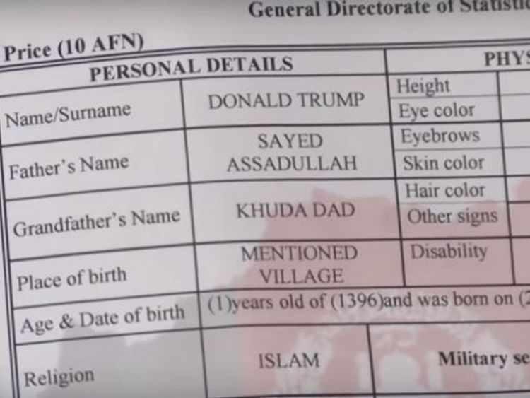 Afghan Toddler Named After Us President Trump