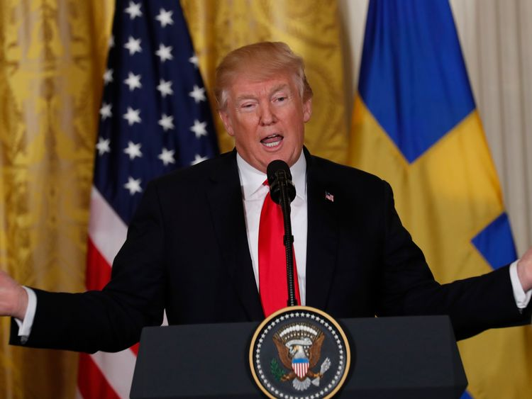 U.S. President Donald Trump addresses a joint news conference with Sweden's Prime Minister Stefan Lofven