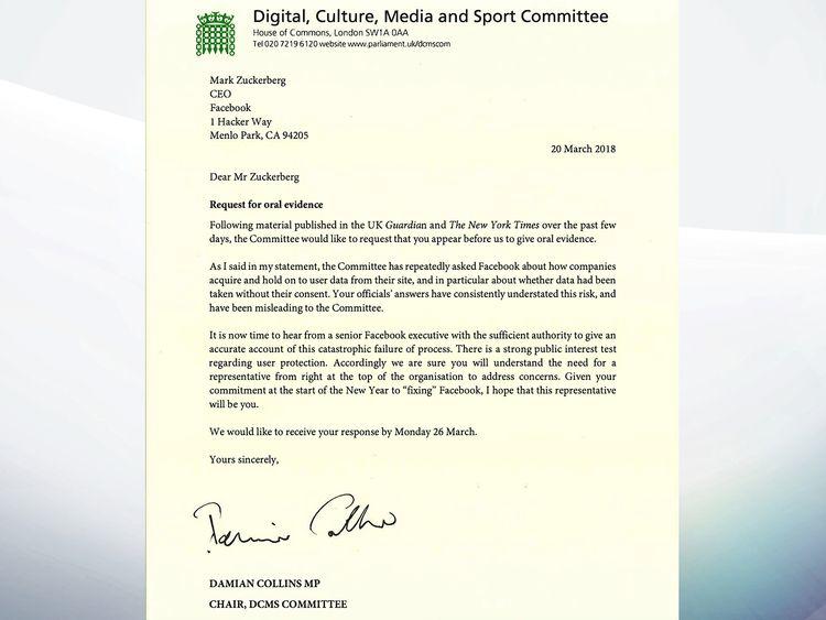 Damien Collins' letter to Mark Zuckerberg