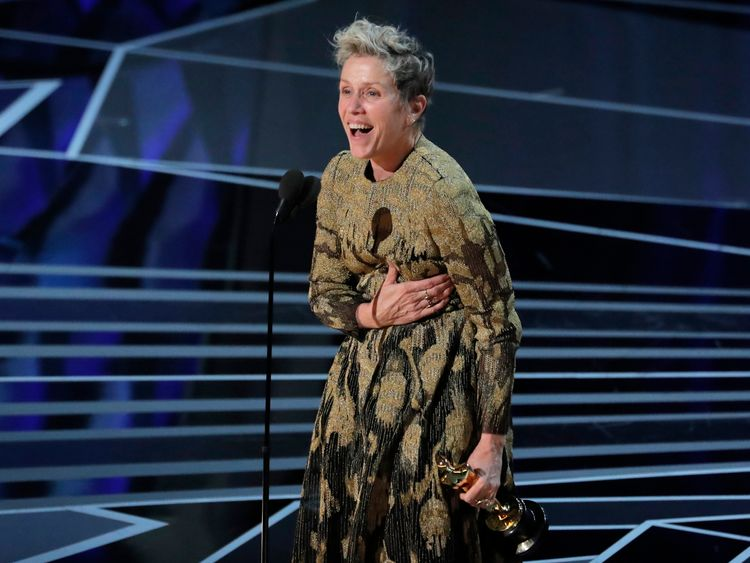 Frances McDormand wins the Best Actress Oscar for Three Billboards Outside Ebbing, Missouri.