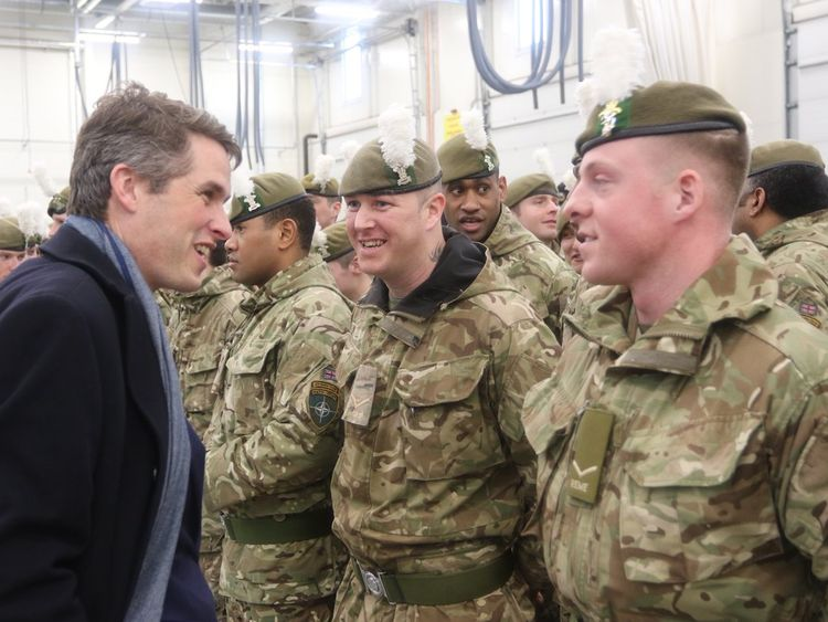 Defence Secretary Gavin Williamson talking to British troops in Estonia. Pic: The Royal Welsh