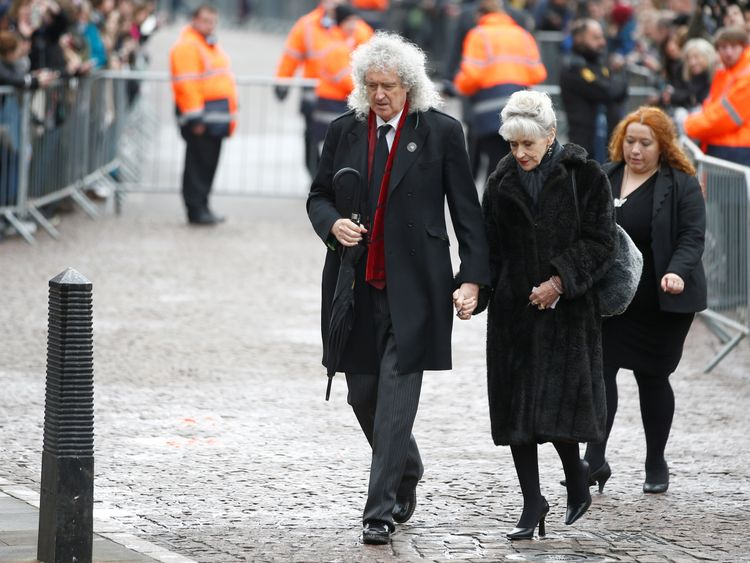 Queen guitarist Brian May and his wife, actress Anita Dobson