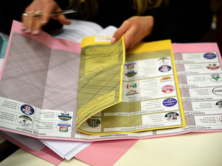 Some ballot papers are displayed in the poll station on March 4, 2018 in Milan, Italy. The economy and immigration are key factors in the 2018 Italian General Election after parliament was dissolved in December 2017