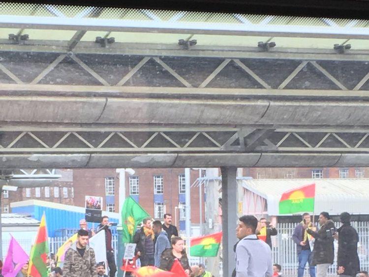 The demonstrators waving Kurdish political flags. Pic: @cannychad