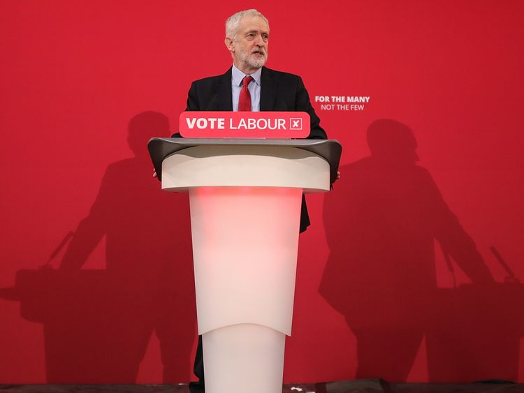 Labour leader, Jeremy Corbyn, launches Labour's local election campaign at Stretford Sports Village on March 22, 2018 in Stretford, England. The Labour leader is calling on voters to use the local elections on May 3rd to signal a 'change in direction'.