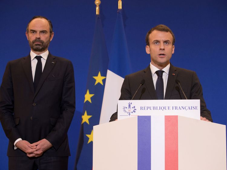 French President Emmanuel Macron and Prime Minister Edouard Philippe speak after the terror attack