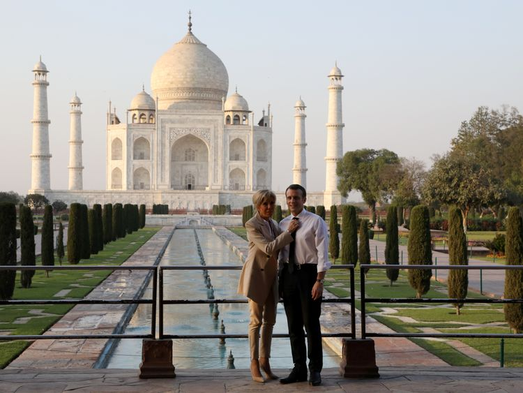 French President Emmanuel Macron and his wife Brigitte Macron at the Taj earlier this month