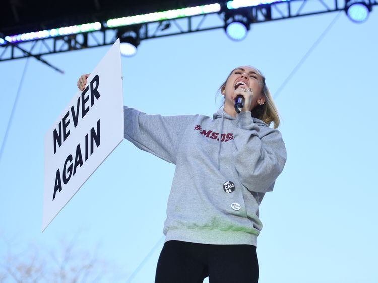 Miley Cyrus sings during the March for Our Lives Rally in Washington, DC