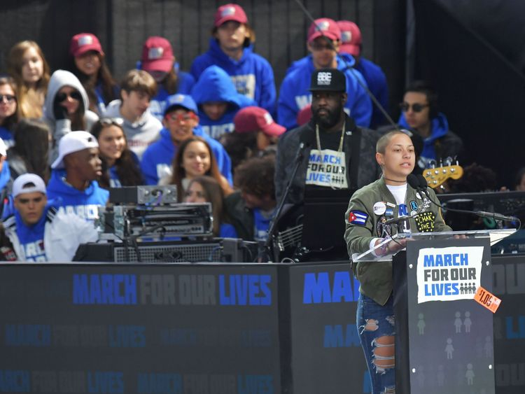 Marjory Stoneman Douglas High School student Emma Gonzalez speaks during the March for Our Lives Rally in Washington, DC