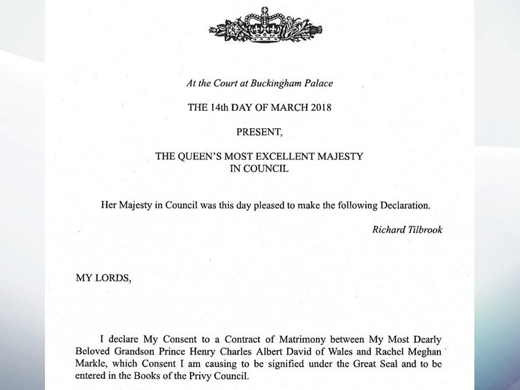 The declaration made by Queen Elizabeth II at Wednesday's Privy Council meeting at Buckingham Palace