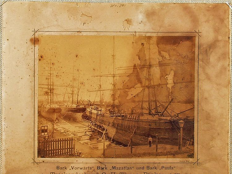 A photograph of the Paula (right front) docked in Germany, circa 1880. Pic: German Weather Service / kymillman.com