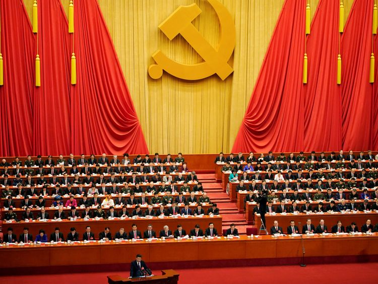 Chinese President Xi Jinping speaks during the opening session of the 19th National Congress of the Communist Party of China