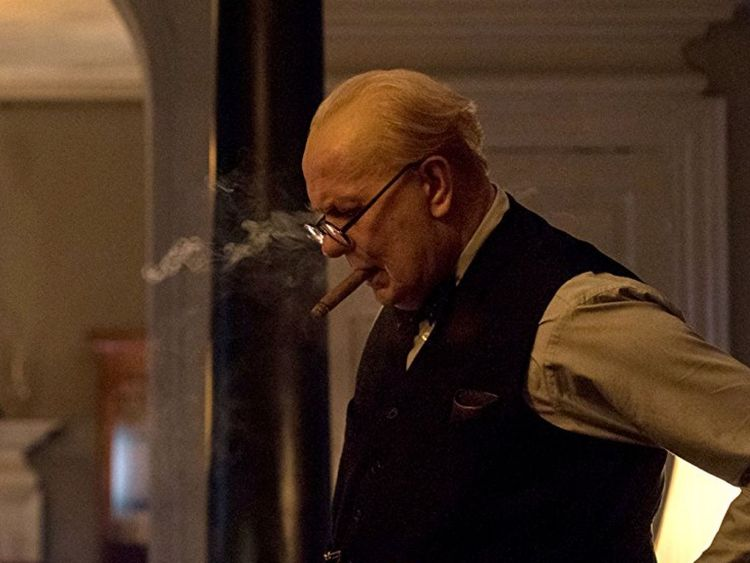 Gary Oldman playing Winston Churchill in Darkest Hour