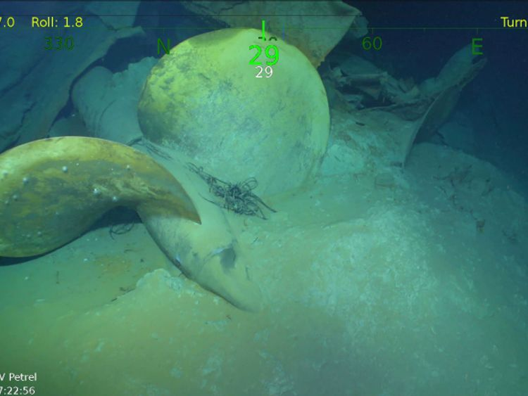 The prop of the USS Juneau resting on the seafloor.