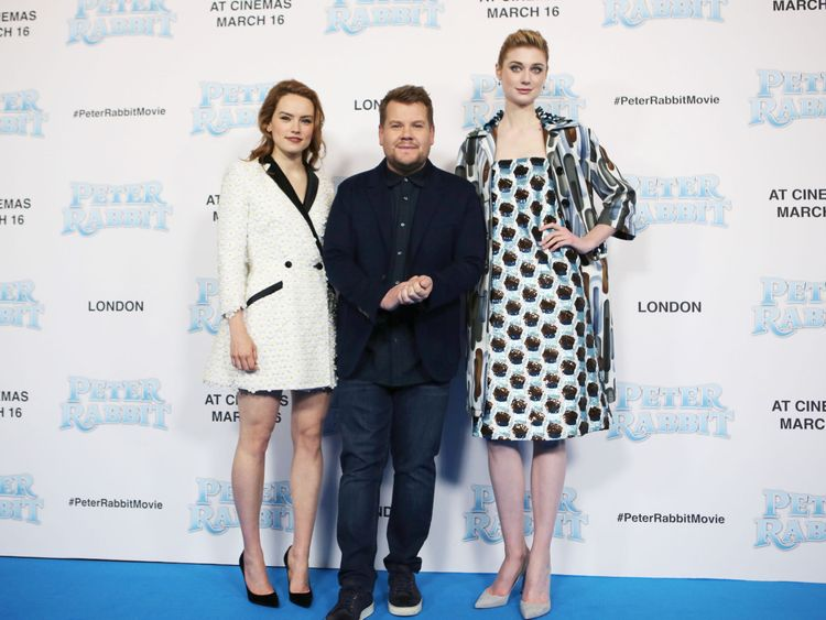 Daisy Ridley, left, James Corden, and Elizabeth Debicki in Leicester Square