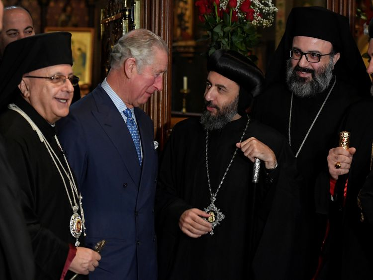 Britain's Prince Charles, Prince of Wales meets religious leaders and clergy after attending a service of prayers by the Melkite Greek-Catholic community at St. Barnabas Church in London, on December 19, 2017
