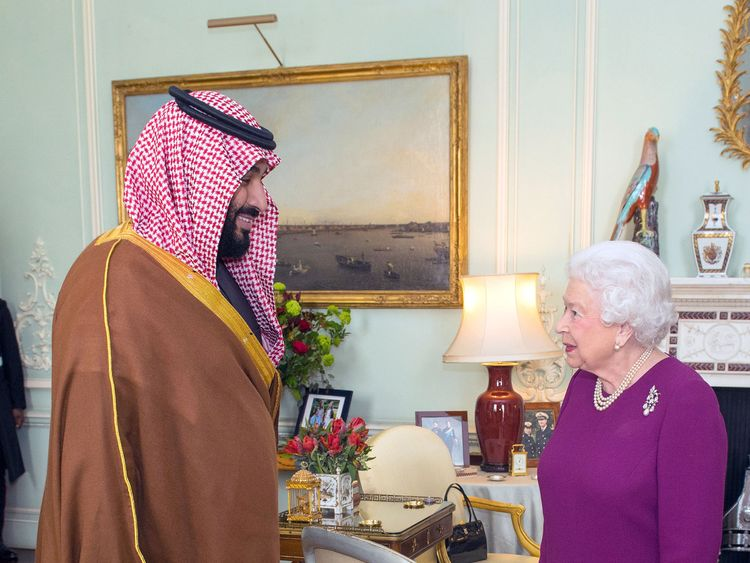 Queen Elizabeth II greets Mohammed bin Salman, the Crown Prince of Saudi Arabia, during a private audience at Buckingham Palace