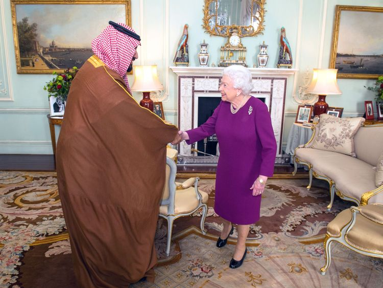 Queen Elizabeth II greets Mohammed bin Salman, the Crown Prince of Saudi Arabia