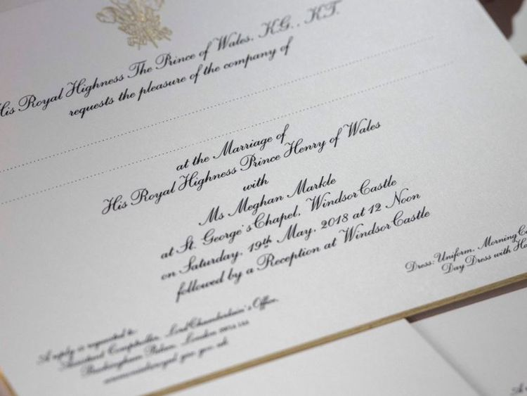 Royal wedding security plans for harry and meghans big day revealed close up of invitation junglespirit Choice Image