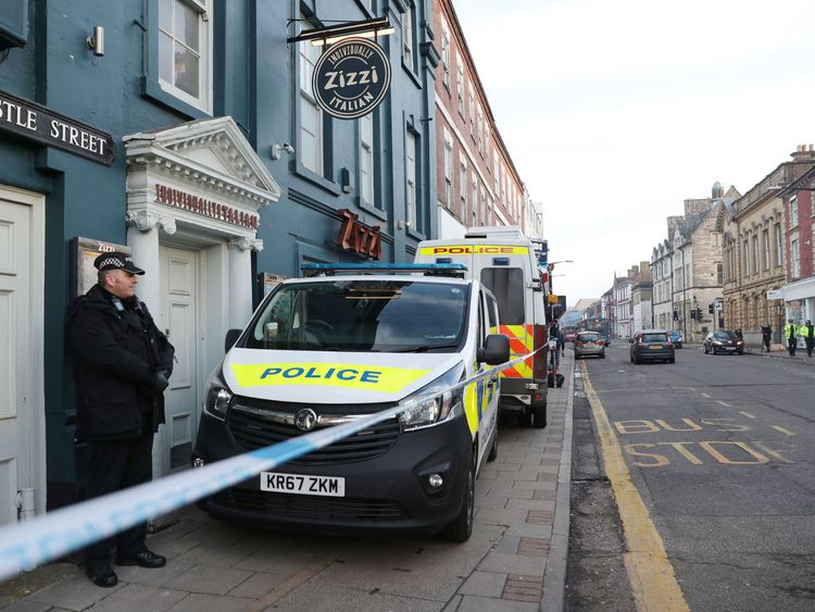 Police outside the Zizzi restaurant in Salisbury near to where former Russian double agent Sergei Skripal was found critically ill by exposure to an unknown substance