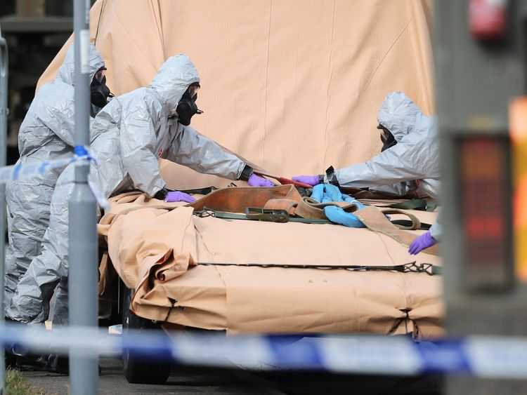 Forensic teams work at an address in Gillingham, Dorset as they remove a recovery truck used following the Salisbury nerve agent attack