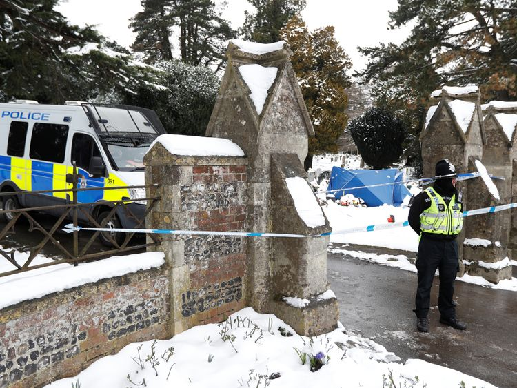 The cordoned off cemetery where the grave of Sergei Skripal's son Alexander is located