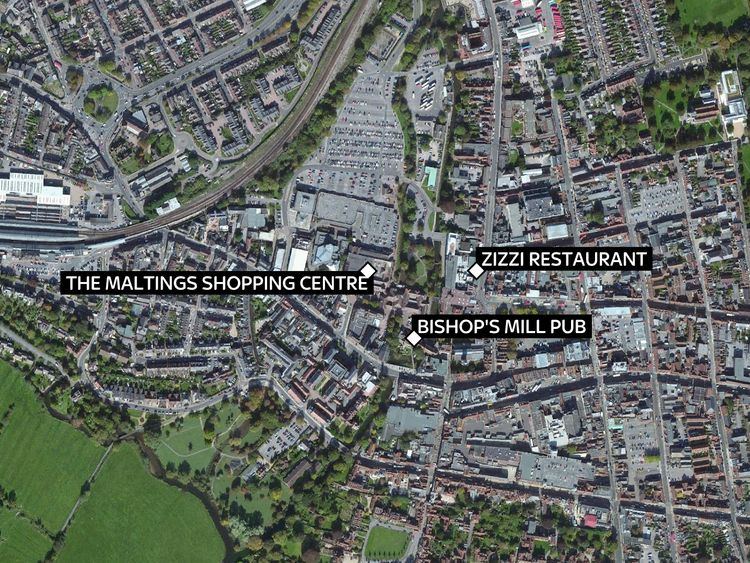 The three locations at the centre of the 'poisoning' investigation