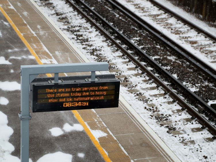 Wye railway station near Ashford, Kent, which is one of over 50 stations closed to passengers on the Southeastern rail network following heavy snowfall