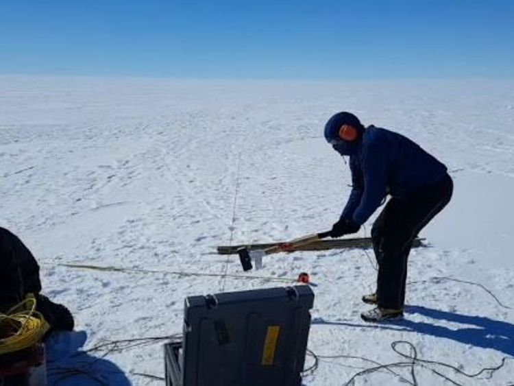 Scientists used seismic waves to find out where the glacier is over the sea. Pic: Australian Antarctic Division