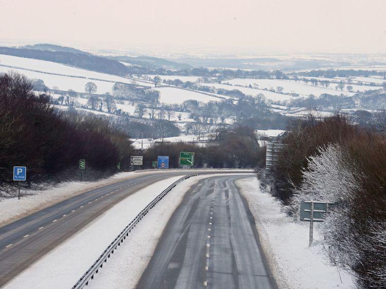 The A30, near Okehampton in Devon