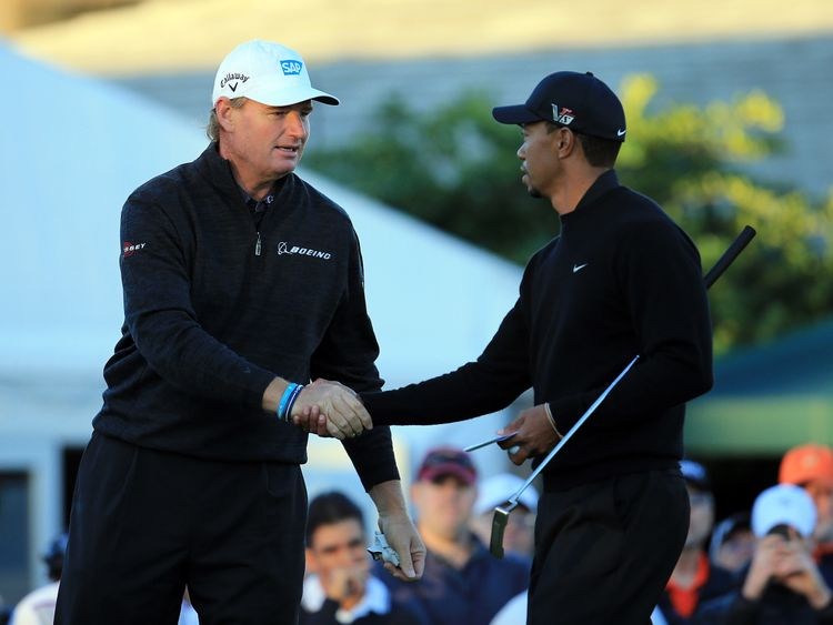 Ernie Els and Tiger Woods during the first round of the 2013 Arnold Palmer Invitational Presented by Mastercard at Bay Hill Golf and Country Club on March 21, 2013 in Orlando, Florida.
