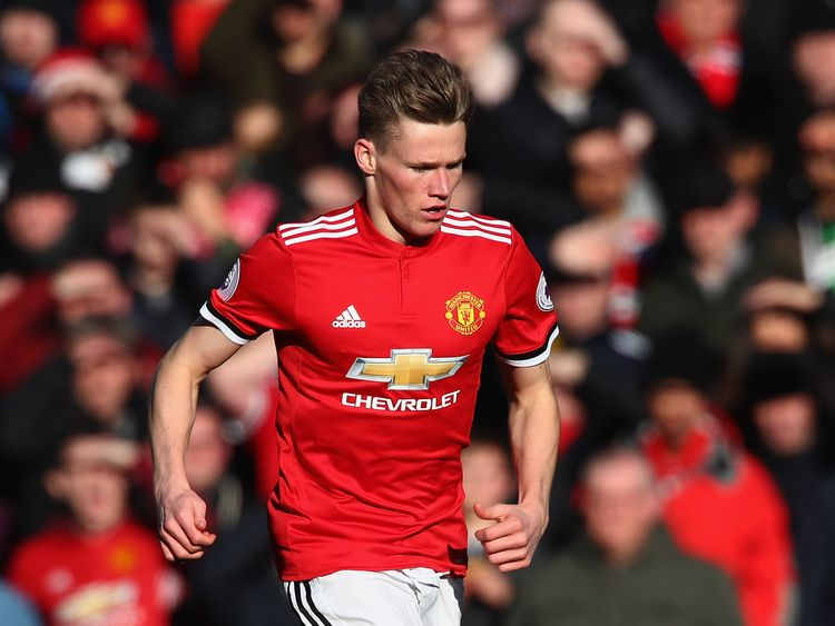 Scott McTominay during the Premier League match between Manchester United and Chelsea at Old Trafford on February 25, 2018 in Manchester, England.