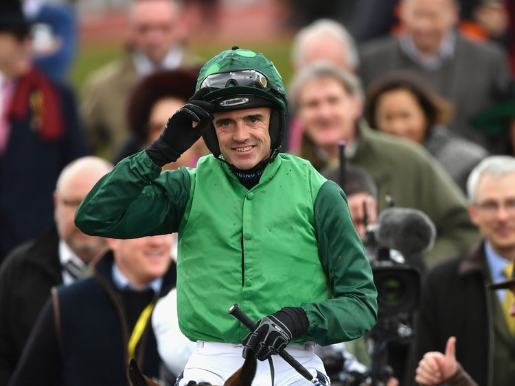Ruby Walsh Riding Footpad Celebrates Victory In The Racing Post Arkle Challenge Trophy Novices