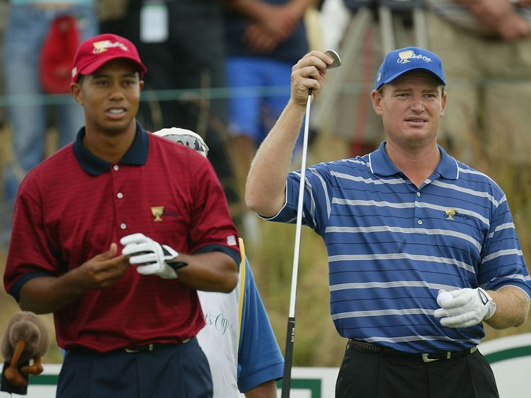 Tiger Woods of USA during this match with Ernie Els of South Africa at The Presidents Cup between USA and The Internatioanl team on the November 23, 2003 at The Links Fancourt Golf Course, George, South Africa.  (Photo by Stuart Franklin/Getty Images)