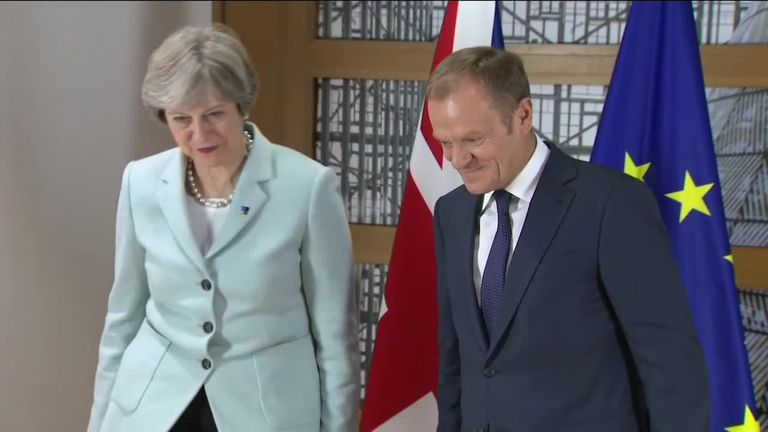 Donald Tusk meets Theresa May for talks over the border in Northern Ireland after Brexit.