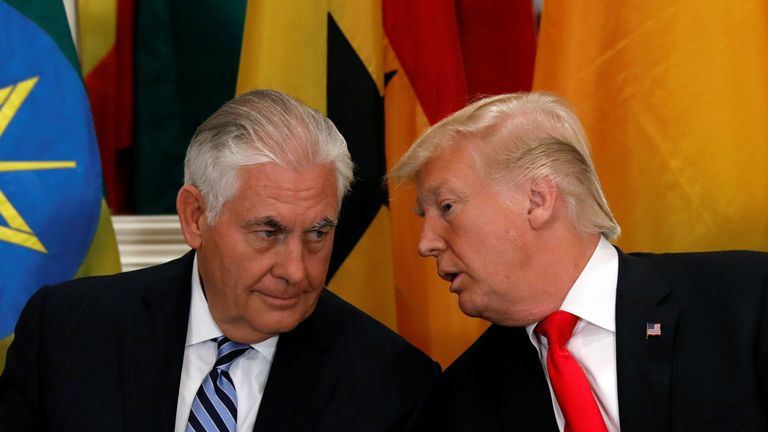 Donald Trump and Rex Tillerson in September last year