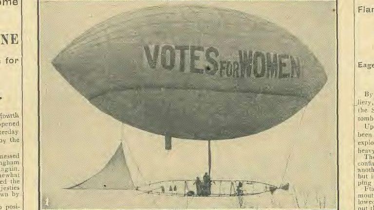 Votes for women vote blimp. Pic: Daily Mirror