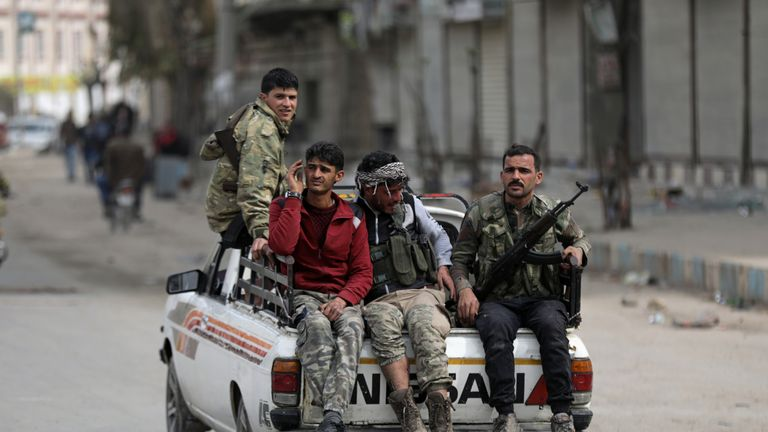 Turkish-backed Free Syrian army fighters in Afrin