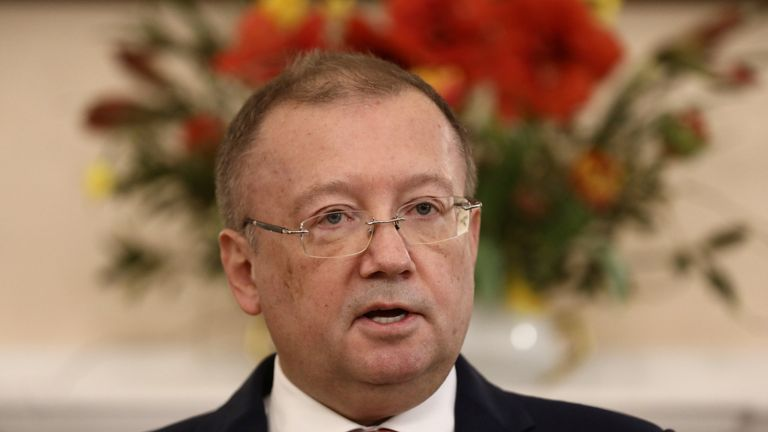 Russia's ambassador to the UK, Alexander Yakovenko, holds a news conference in the Russian Embassy in London