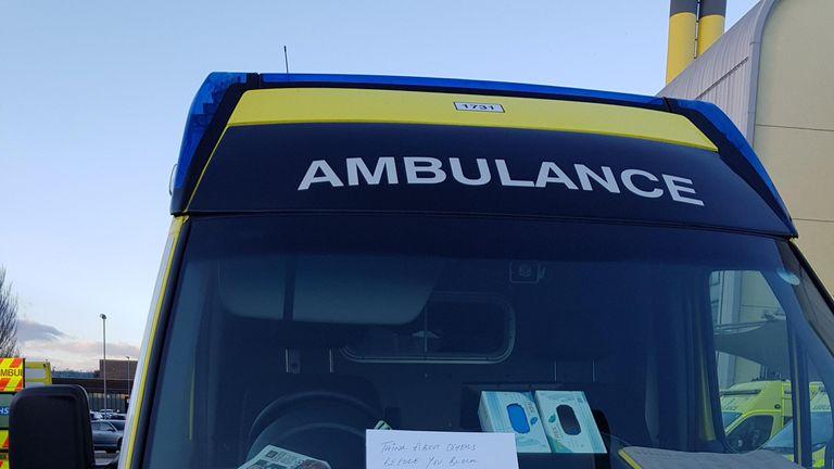 An angry note was left on an ambulance Credit: Zain Ali Kazmi