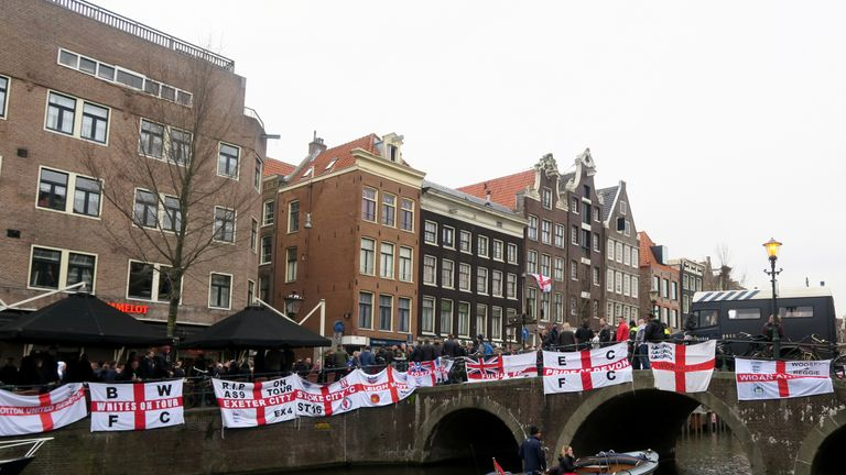 England fans outside a bar in Amsterdam