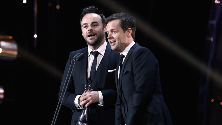 LONDON, ENGLAND - JANUARY 25: Ant and Dec accept the Best TV Presenter Award on stage during the National Television Awards at The O2 Arena on January 25, 2017 in London, England. (Photo by John Phillips/Getty Images)