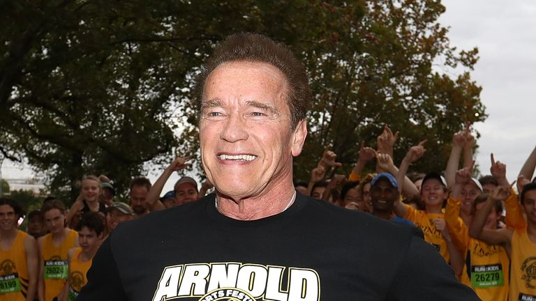Arnold Schwarzenegger poses during a sports festival earlier this month