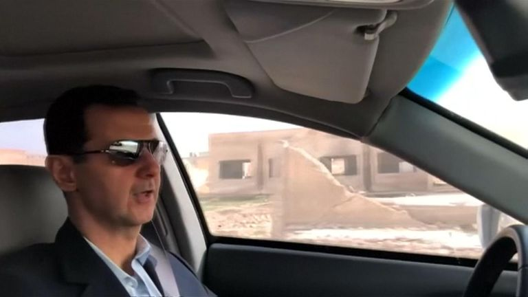 Syrian President Bashar al-Assad took to the wheel of his car to drive into eastern Ghouta to inspect his troops in a marked departure from his usual media appearances.