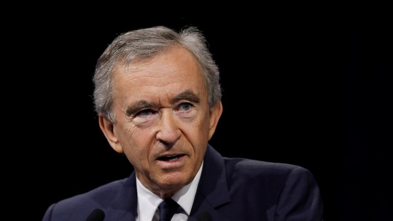 Bernard Arnault, Chairman and chief executive officer of LVMH Moet Hennessy Louis Vuitton SE, delivers a speech at the Viva Technology conference in Paris, France, June 16, 2017.