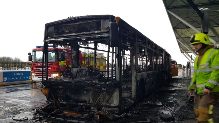The shuttle bus at Stansted was destroyed in the fire. Credit: @DareMe_UK