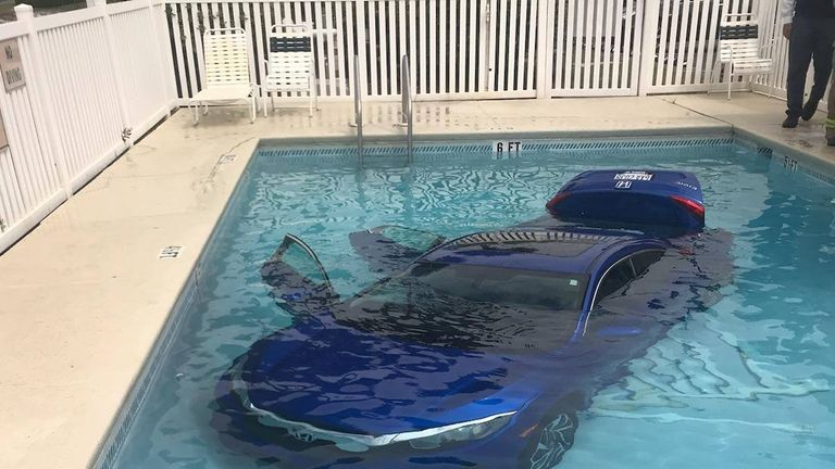 The woman's husband and daughter managed to get out of the car. Pic: Okaloosa County Sheriff's Office