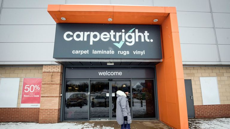 A view of Carpetright in Leeds, as the company has warned it is set to swing to a full-year loss and said it has started talks with its lenders as the woes in the retail sector show no sign of letting up